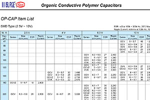 Organic Polymer Capacitor Selector Guide screenshot